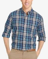 Izod Men's Plaid Button Down Long Sleeve Shirt Dark Blue