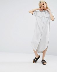Native Youth Relaxed Shirt Dress Dipped Hem Grey