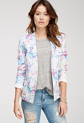 Forever 21 Watercolor Floral Print Blazer Ivory Pink
