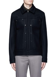 Acne Studios 'Metal' Eyelet Wool Blend Melton Shirt Jacket Black