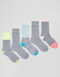 Asos Boot Socks With Neon And Pastel Panels 5 Pack Grey