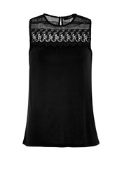 Hallhuber Lace Yoke Top Black
