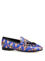 Gucci Jordaan Bee Jacquard Ant Loafers Blue Multi