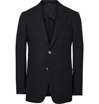 Dunhill Blue Slim Fit Wool And Silk Blend Hopsack Blazer Blue