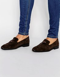 Asos Loafers In Brown Suede With Tassel Brown