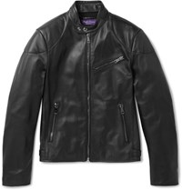 Ralph Lauren Purple Label Raph Auren Purpe Abe Randa Eather Biker Jacket Back Black