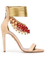 Aquazzura Ankle Strap Heeled Sandals Nude And Neutrals