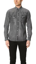 The Kooples Used Effect Denim Shirt Grey