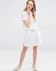Native Youth Mini Striped Skirt Co Ord White Ecru