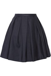 Burberry London Pleated Wool And Silk Blend Mini Skirt Navy