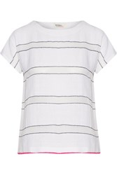 Lemlem Shora Striped Cotton Blend Gauze T Shirt White