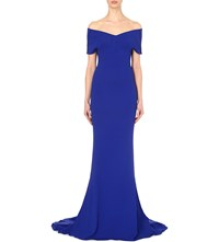 Stella Mccartney Off The Shoulder Stretch Crepe Gown Blue Bird