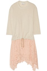 3.1 Phillip Lim French Terry And Lace Dress Ecru