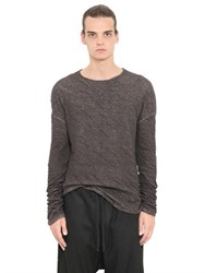 Isabel Benenato Wrinkled Cotton And Linen Jersey T Shirt