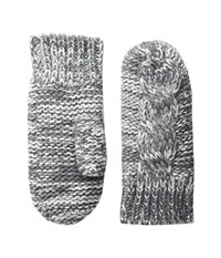 Bula Aran Mitten Heather Medium Grey Combo Over Mits Gloves Gray