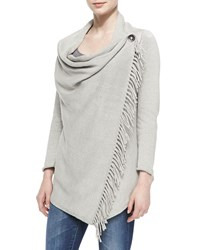 Pure Handknit Draped Neck Cardigan With Cilantro Fringe Women's