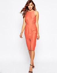 Asos Sleeveless Textured Wiggle Dress With Split Front Coral