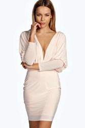 Boohoo Plunge Slinky Bodycon Dress Nude