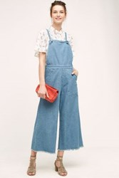 Anthropologie Knotted Wide Leg Overalls Light Denim