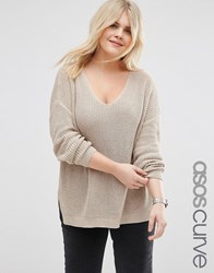 Asos Curve Chunky Jumper With Side Splits And V Neck Oatmeal Beige
