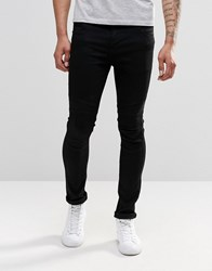 Pull And Bear Pullandbear Super Skinny Biker Jeans In Black Black