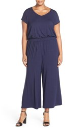 Plus Size Women's Sejour Short Sleeve Jersey Crop Wide Leg Jumpsuit