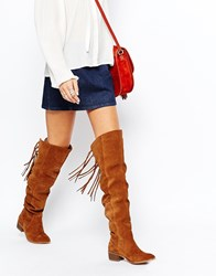 Asos Knockout Leather Western Fringe Over The Knee Boots Tan