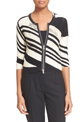 Women's Tracy Reese Cropped Zip Cardigan Zig Zag