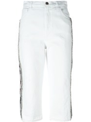 Laneus Stripe Detail Trousers White