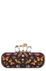 Alexander Mcqueen 'Obsession' Print Knuckle Box Clutch
