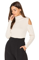 525 America Cut Out Ribbed Turtleneck Sweater Beige