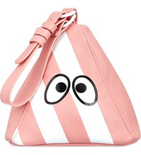 Mini Cream Triangle Striped Clutch Pink White