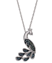 Macy's Sterling Silver Necklace Blue And Green Diamond Accent Peacock Pendant 1 10 Ct. T.W.