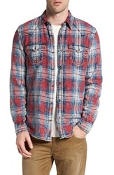 True Religion Men's Brand Jeans Trim Fit Washed Plaid Western Woven Shirt