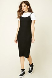 Forever 21 Combo Knit Dress Black White