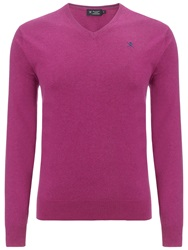 Hackett London Silk Blend V Neck Jumper Fuschia