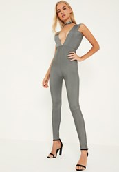 Missguided Premium Grey Bandage Wide Plunge Neck Jumpsuit