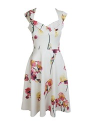 Feverfish Printed Flared Sweetheart Neck Dress Cream