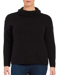 Lord And Taylor Plus Plus Turtleneck Ribbed Pullover Black