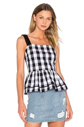 Kate Spade Gingham Peplum Tank Black And White