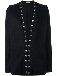 Saint Laurent Oversized Heart Studded Cardigan Black