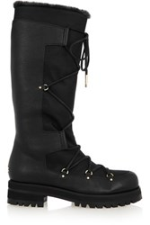 Jimmy Choo Dunn Shearling Lined Textured Leather And Canvas Knee Boots Black