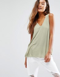 Honey Punch V Neck Loose Fit Tank Top Nude Beige