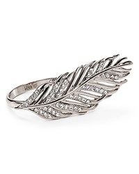 Rebecca Minkoff Feather Knuckle Duster Ring Silver