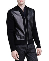 The Kooples Leather Panel Cardigan Black