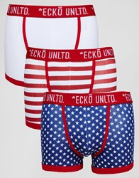 Ecko Unlimited Ecko 3 Pack Trunks Usa Navy