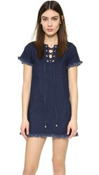 J.O.A. Lace Up Denim Dress Indigo