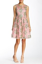 Eva Franco Illusion Yoke Flare Dress Pink