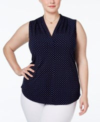 Charter Club Plus Size Polka Dot Printed Blouse Only At Macy's Intrepid Blue Combo