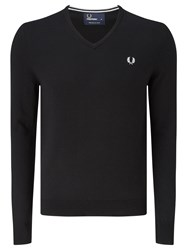 Fred Perry Classic Tipped V Neck Sweater Black
